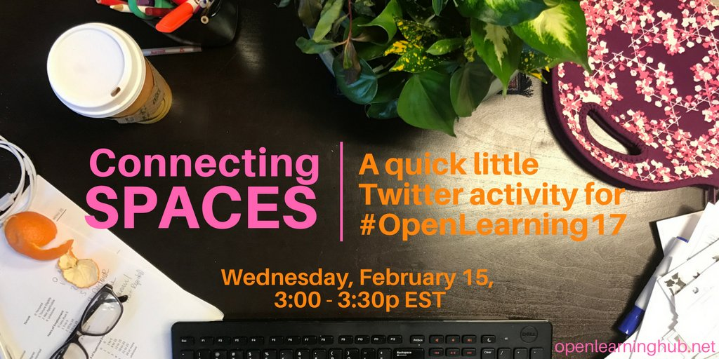 Howdy #openlearning17!  Who's up to sharing their space with us today? https://t.co/JkowfnvIQq