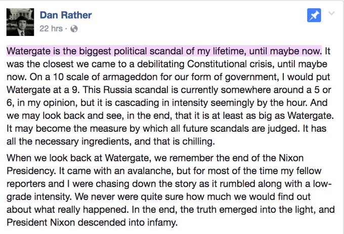 Please read Dan Rathers's post on the Russia scandal, then send it to every last Trump supporter you know.   This is not a partisan issue.