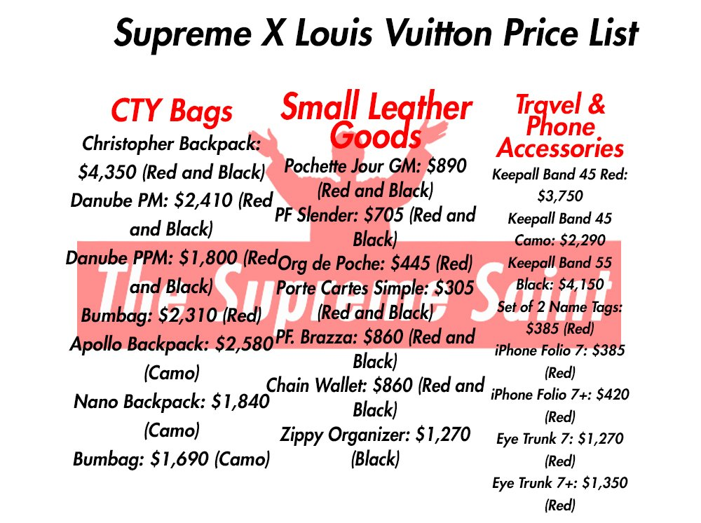 The Supreme Saint On Twitter ALL X Louis Vuitton Prices And Colors