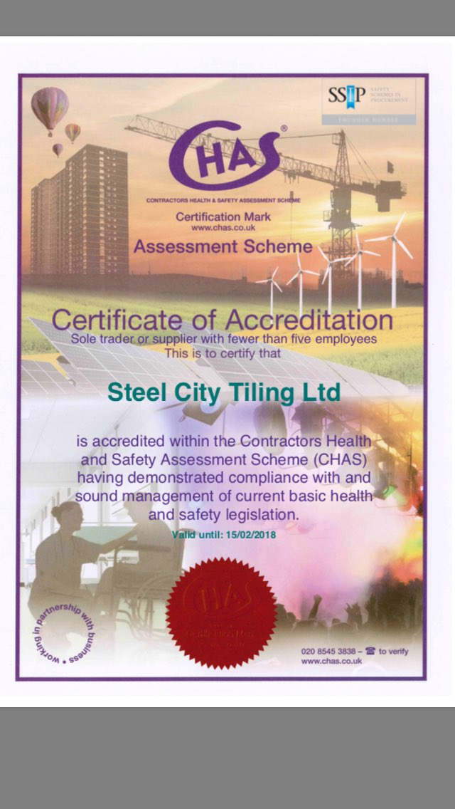 We are extremely pleased to say that Steel City Tiling Ltd is now CHAS accredited. Thank you to @HSDirectDP. . #CHAS #TilerSheffield<br>http://pic.twitter.com/ir6ASZSWhP