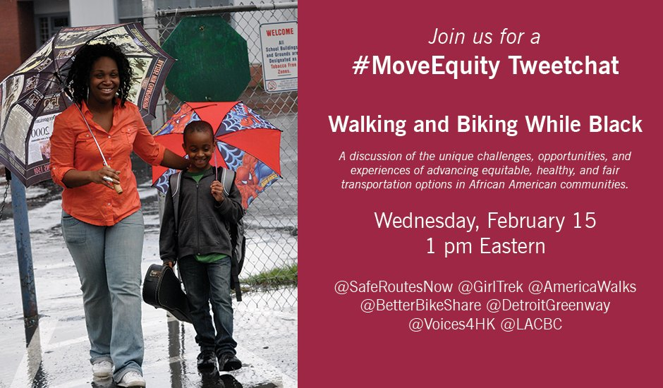 10 minutes until #MoveEquity chat! What does it mean to walk and bike while Black? https://t.co/ScQFCmI5H5