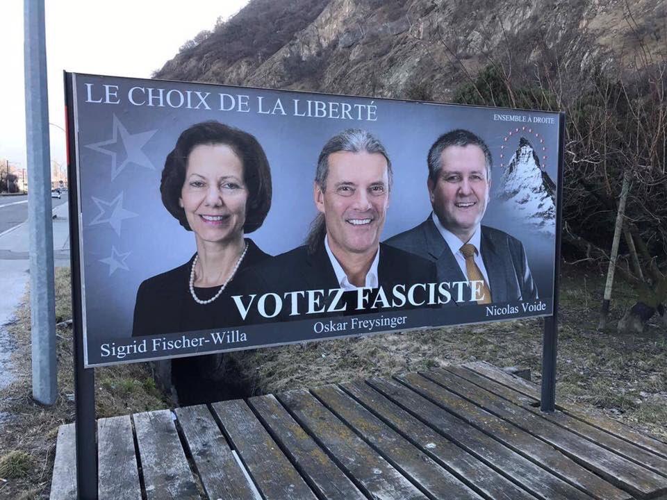 Ou les slogans de l'UDC sont de + en + audacieux ou il y a des plaisantins en #Valais Nicolas Voide Oskar Freysinger Sigrid Fischer-Willa <br>http://pic.twitter.com/bgMtXaLHqR