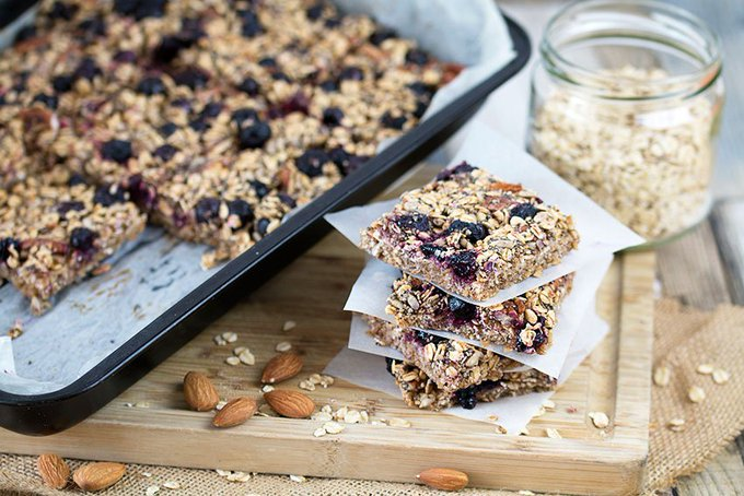 Blueberry Oat Breakfast Bars Recipe- The Healthy Tart