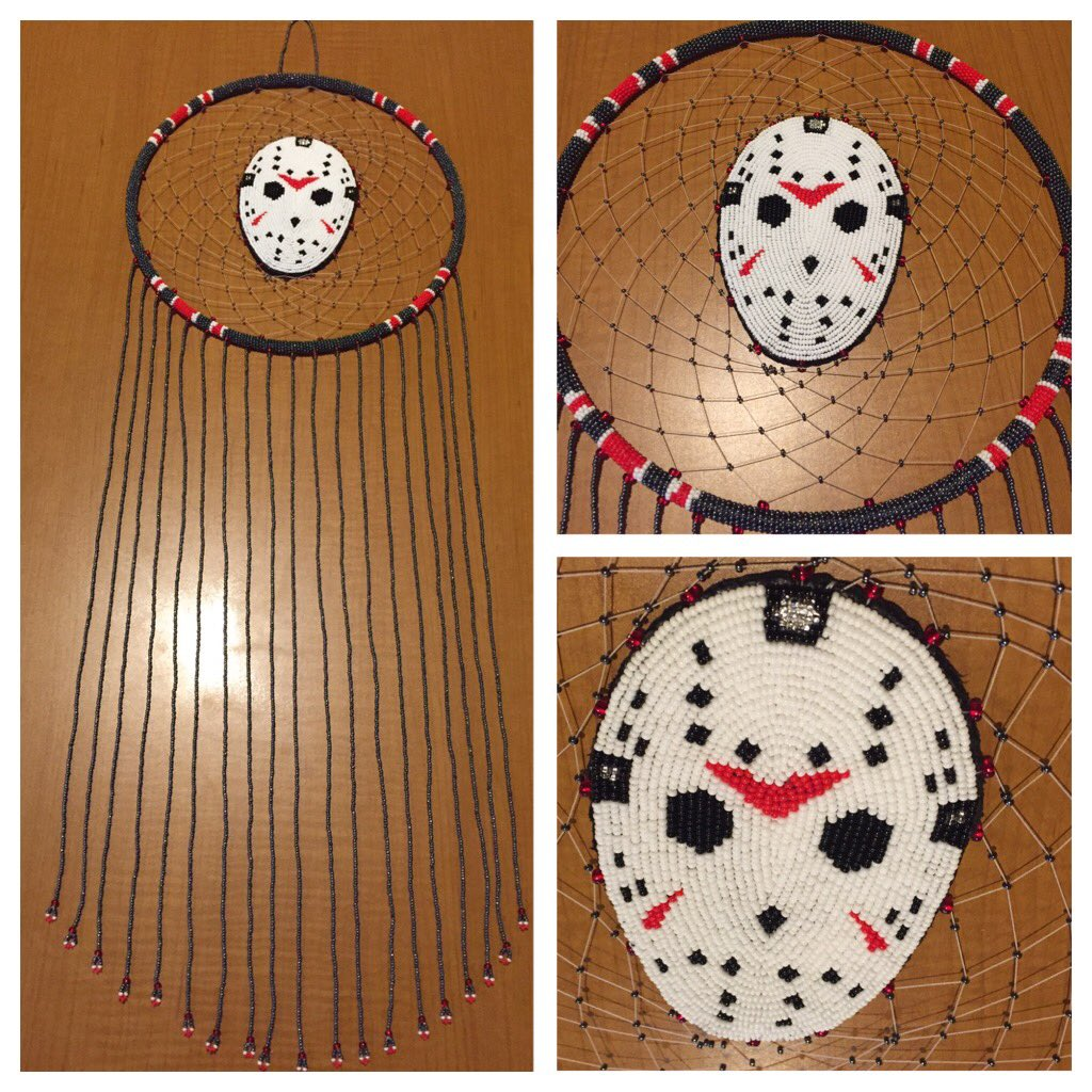 Some girls get chocolate and flowers. Today I got this bad ass beaded piece of art @kanehodder1 #jasonvorhees #FridayThe13th #HorrorMovies <br>http://pic.twitter.com/axxv0bTZDL