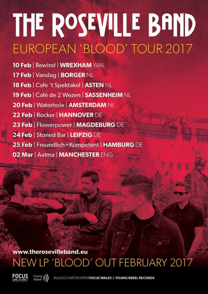 European Tour!   #Borger #Asten #Sassenheim #Amsterdam #Hannover #Magdeburg #Leipzig #Hamburg  http://www. therosevilleband.eu  &nbsp;   #Wrexham #Wales<br>http://pic.twitter.com/gkSXGjMVMM