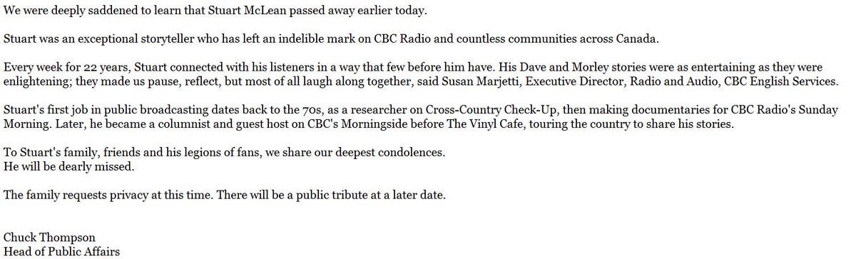 CBC statement on the passing of Stuart McLean. https://t.co/U5bE3ygMm5