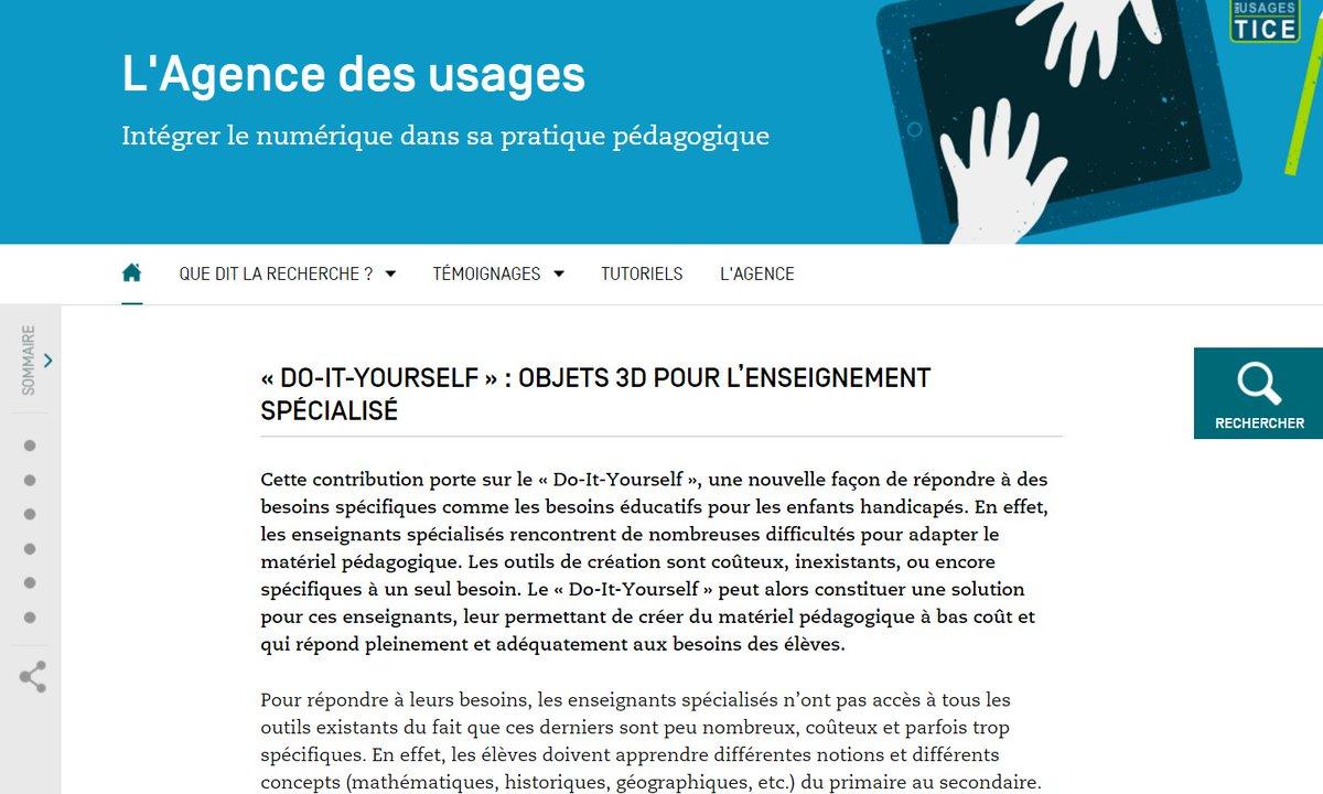 #nouveau @Usages_TICE &quot;Que dit la recherche ?&quot; : #DIY et Objets 3D pour l'enseignement spécialisé : à réfléchir !  https://www. reseau-canope.fr/agence-des-usa ges/do-it-yourself-objets-3d-pour-lenseignement-specialise.html &nbsp; … <br>http://pic.twitter.com/yDSjte01OR