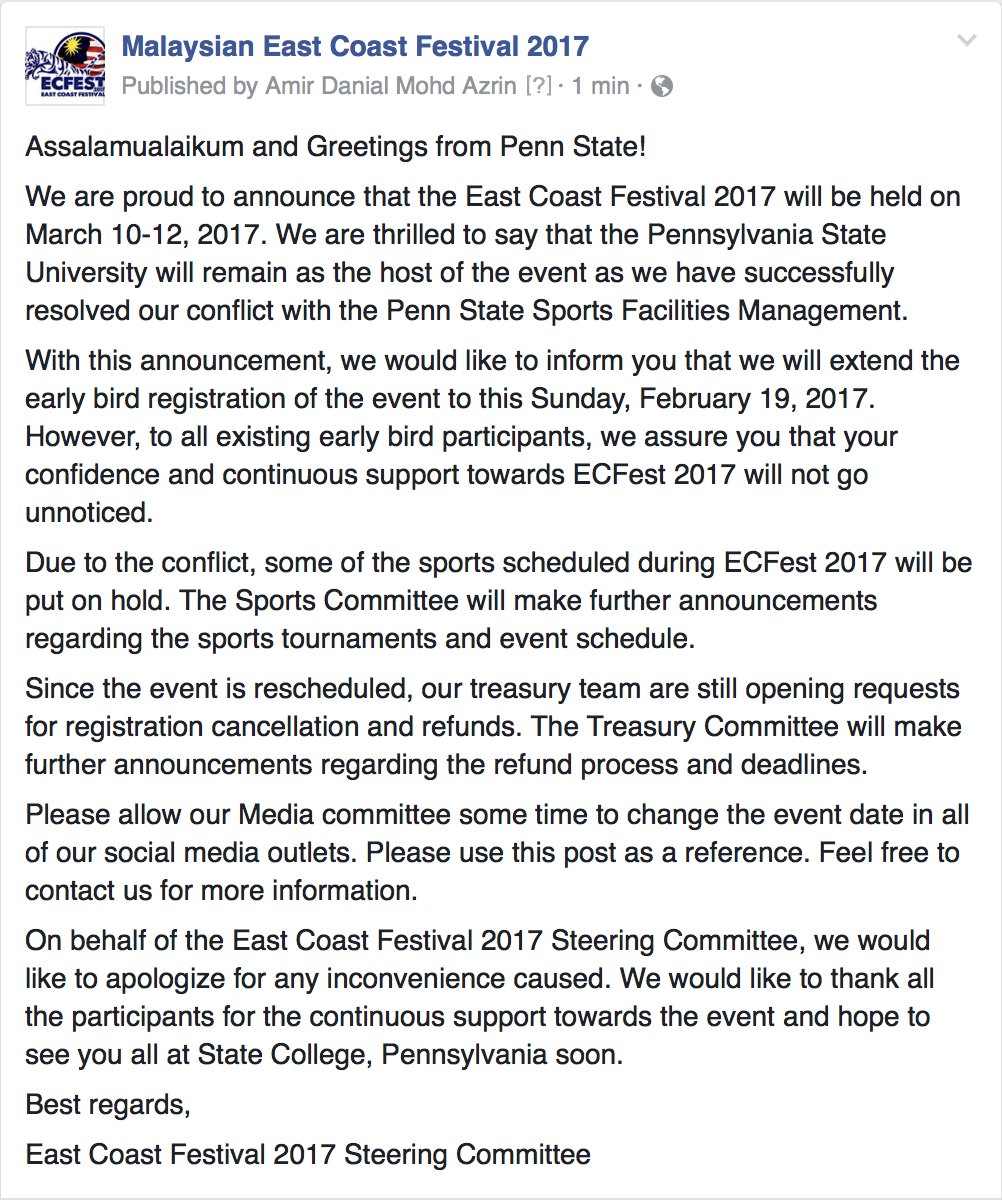 """East Coast Festival on Twitter """" ECFest2017 is set for March 10 12 2017 at the Pennsylvania State University Here is a snapshot of the announcement from"""