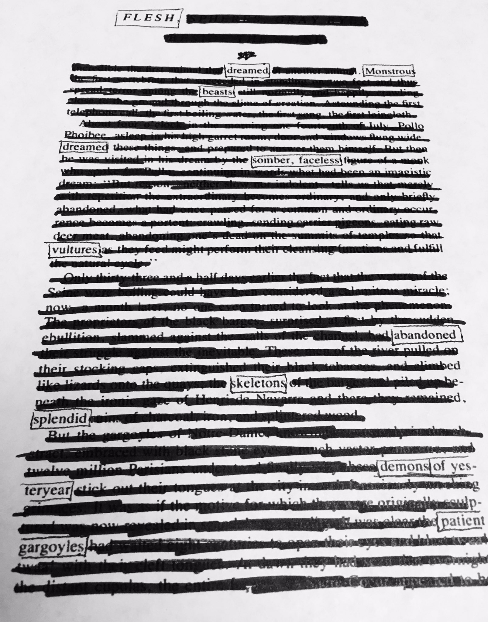 @netnarr flesh dreamed monstrous beasts, dreamed somber, faceless vultures... #netnarr #blackoutpoetry https://t.co/HIgmeTJWJ6