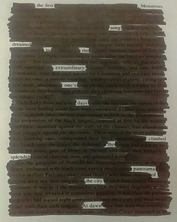 #netnarr #blackoutpoetry The first monstrous song dreamed in the extraordinary one's days climbed the splendid panorama of the city at dawn. https://t.co/y8jgNAmtAu