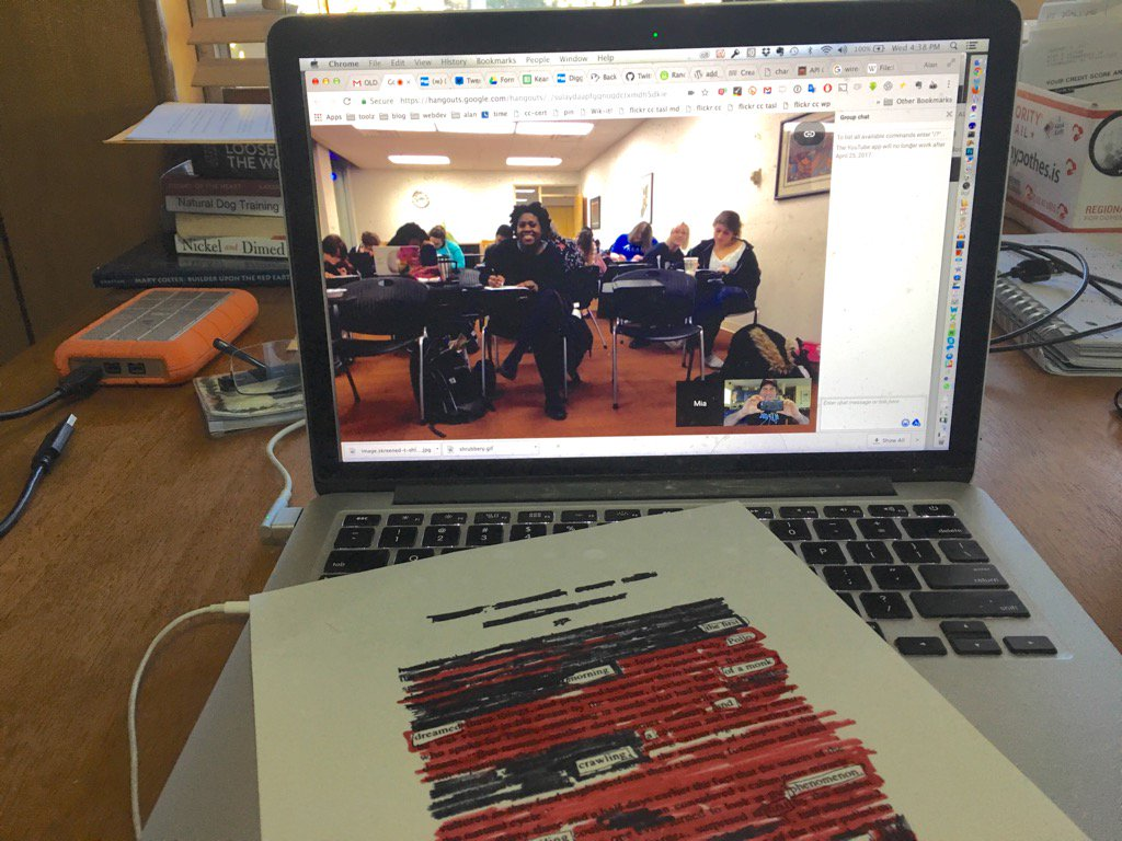 My view of doing #netnarr #blackoutpoetry with class 2000 miles away https://t.co/na5DOToM8v