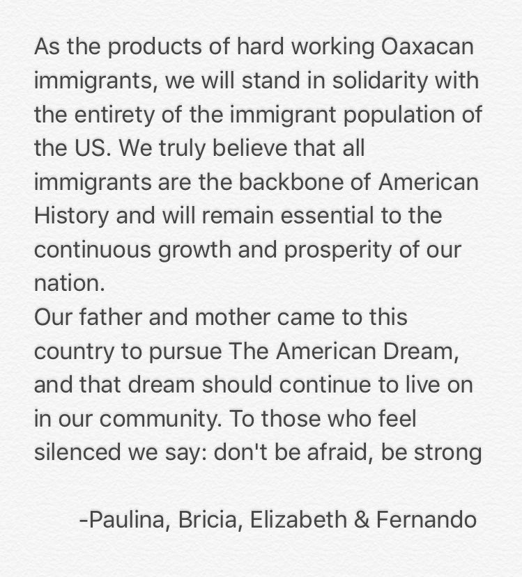 Guelaguetza will be closed tomorrow 2/16/17 in observance of a day without an immigrant https://t.co/ZuvEHGNeGE
