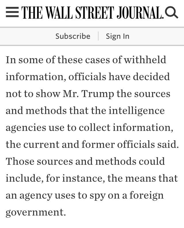 .@wikileaks: WSJ says US intelligence says it is intentionally concealing information from US president @realDonaldTrump