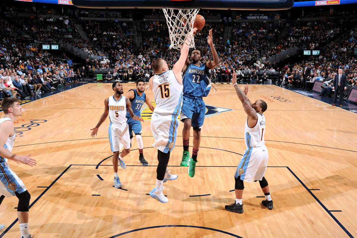 Three quarters down, one to go!  #Twolves - 85 @nuggets - 79  #PowerOfThePack <br>http://pic.twitter.com/ACfHVjXxE6