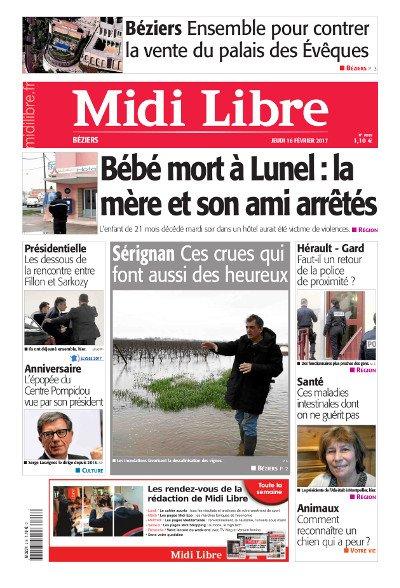 #MidiLibre Bonjour #Béziers ! Voici la Une de @MLBeziers de ce jeudi 16 février... Bonne lecture !<br>http://pic.twitter.com/qA10kwL1O7