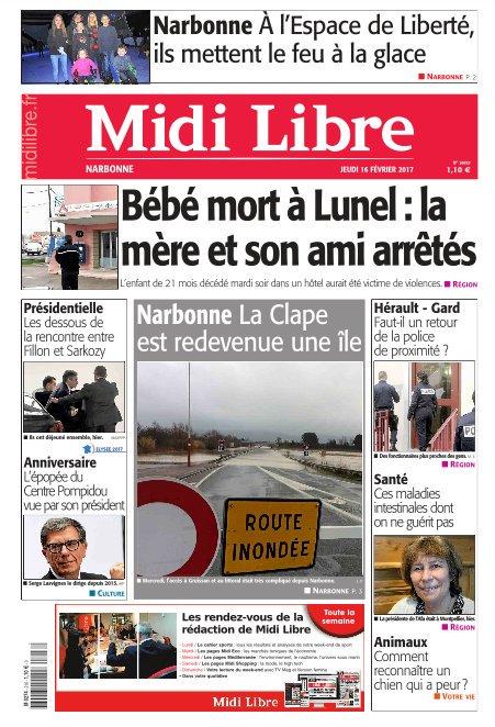 A la une de #MidiLibre #Narbonne ce jeudi  - La Clape redevenue une île - À l&#39;Espace de Liberté ils mettent le feu à la glace<br>http://pic.twitter.com/UtLbzMXkCd