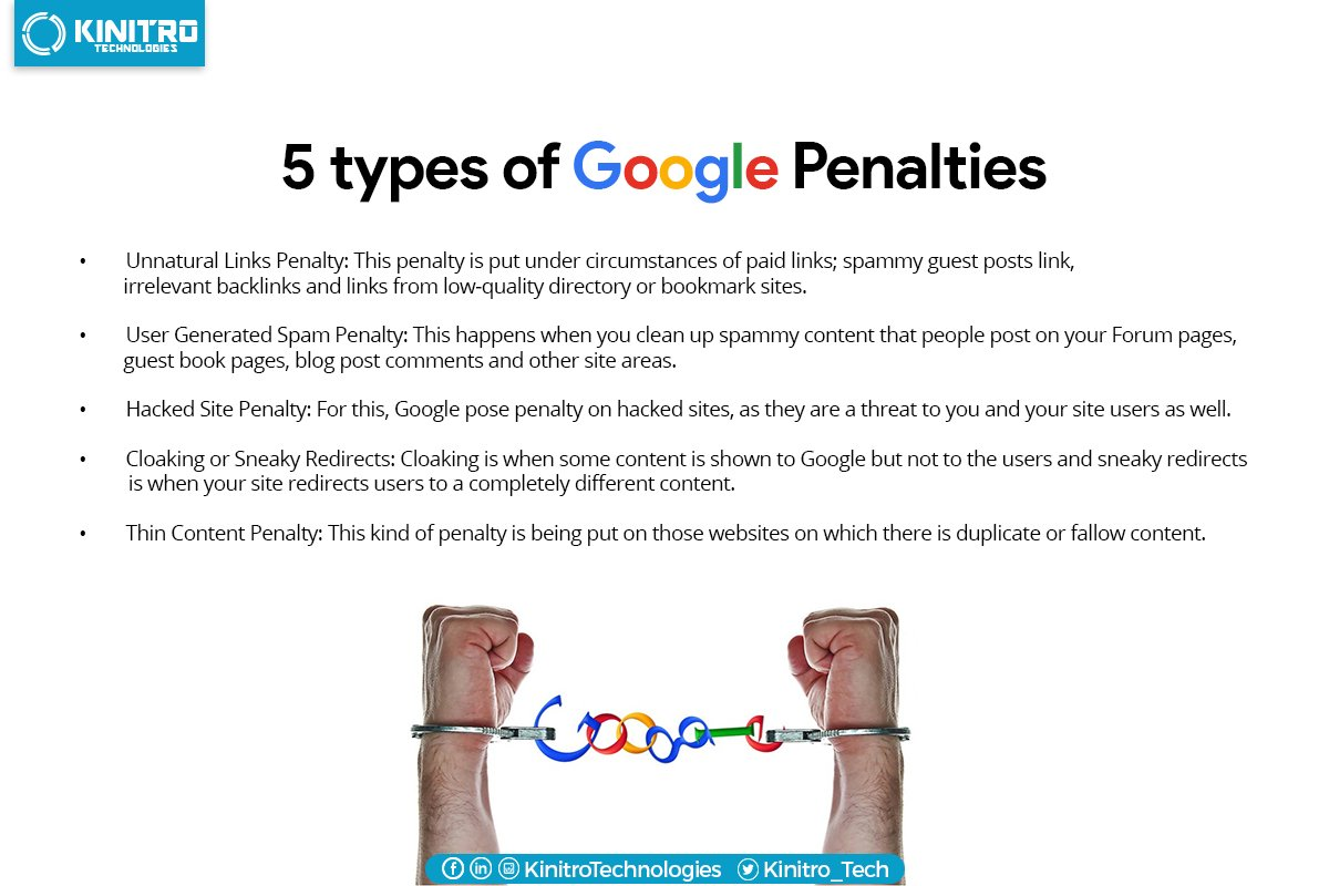 5 types of #google penalties that you should know! #Googletips #SEO #SeoTips https://t.co/Tls6nZXDvX