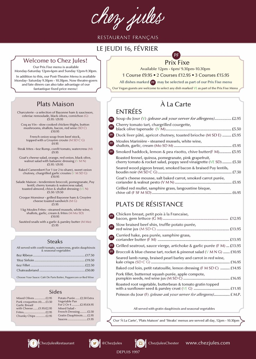 Menu du jour, 1 course 9.95, 2 courses 12.95, 3 courses 15.95 #fresh #french #dailychanging #chestertweets #lovefood<br>http://pic.twitter.com/obMNSBlpog