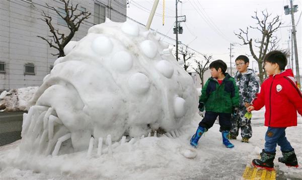 路上にナウシカのオーム像 秋田、雪で男性手作り https://t.co/JkC5ATwd94  #オーム #アニメ #秋田市