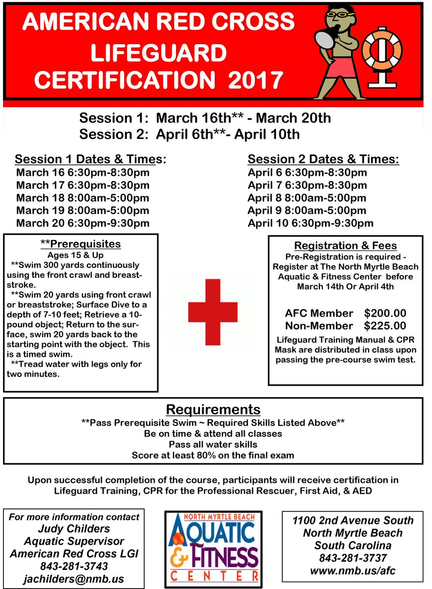 North myrtle beach on twitter red cross lifeguard certification north myrtle beach on twitter red cross lifeguard certification courses available in march at nmb aquatic fitness center more info judy childers at xflitez Choice Image