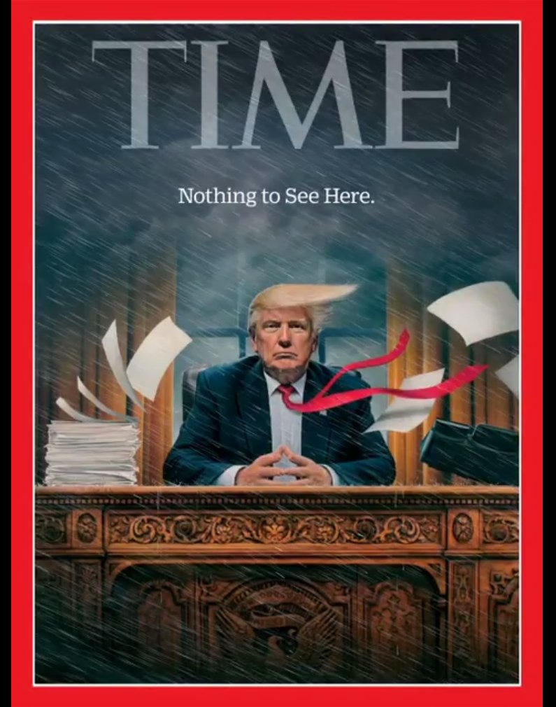 Time Magazine cover features Trump in the middle of a storm: 'Nothing to see here' https://t.co/ZsLkYI5uHx https://t.co/7w7y9zG1oR