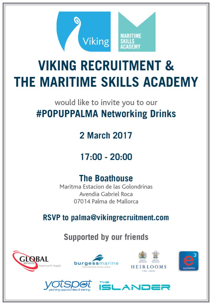 RSVP! Our #Palma #party. palma@vikingrecruitment.com - @GS_Yacht_Spares &amp; @BurgessMarine would love to see you.<br>http://pic.twitter.com/cAkZG4fUTw