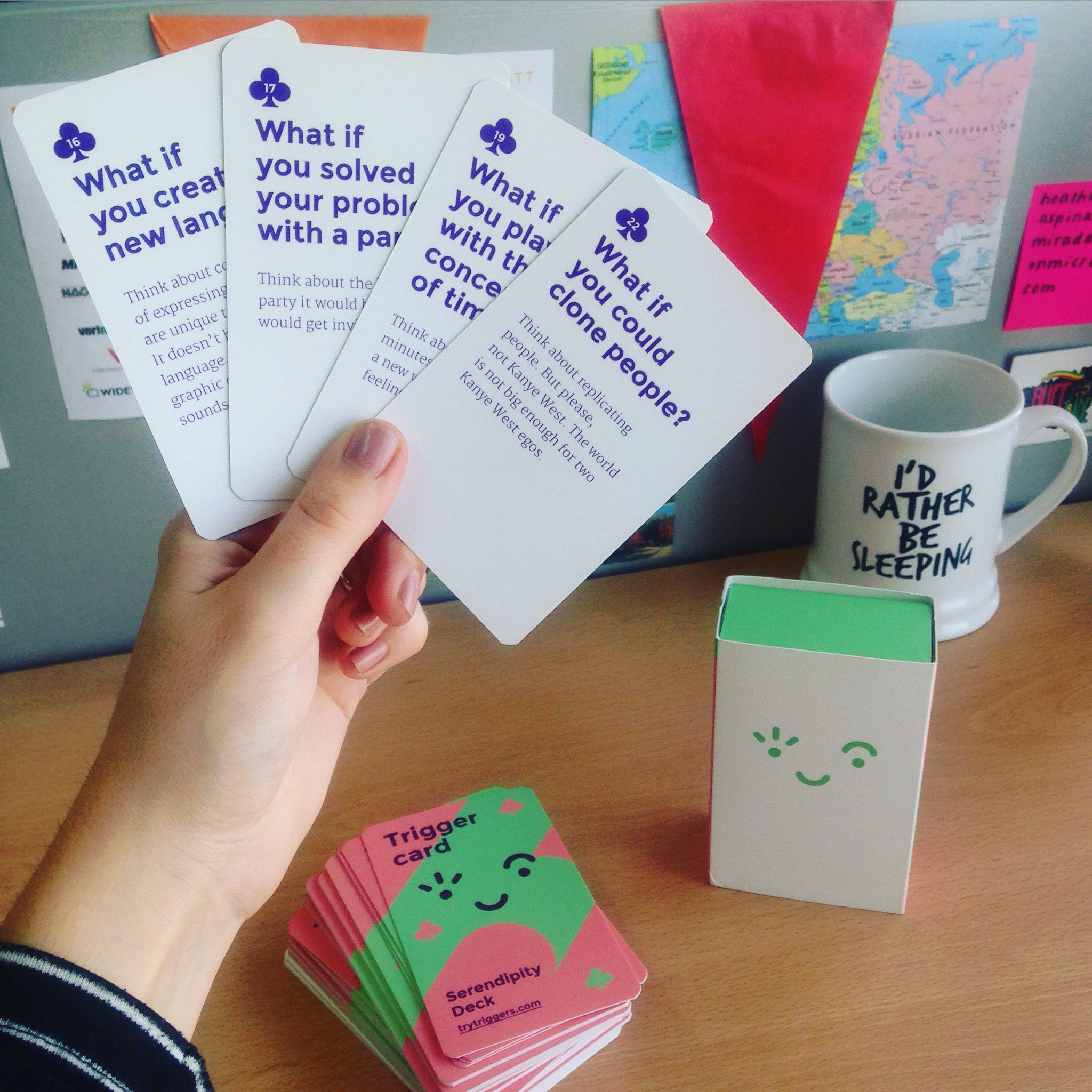 We can't wait to get our creative juices flowing with our brand new deck of Serendipity cards from @trytriggers 🙌 #ideation #designthinking https://t.co/FNr2HTpCVr