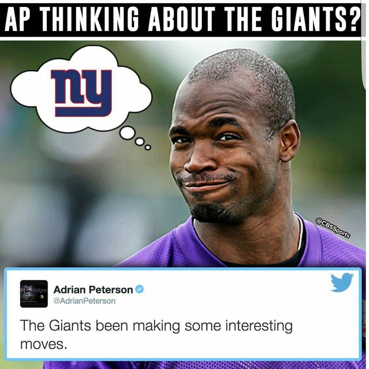 Call it leverage, call it a wish, call it whatever u want but AP clearly wants to play for Giants. #GIANTS #GiantsPride #AP rp @CBSSports<br>http://pic.twitter.com/GZFOjsJTBt