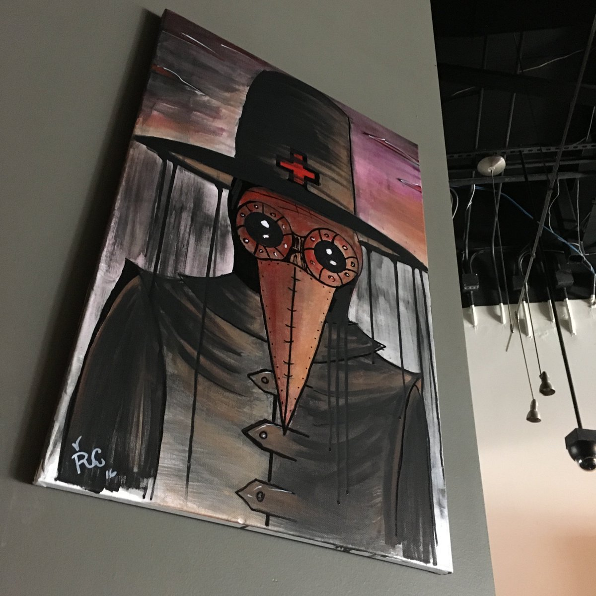 #Steampunk Awesome of the Day: #PlagueDoctor Painting by @rigoleonart at @louirestaurants via @rivet_nation #SamaArt