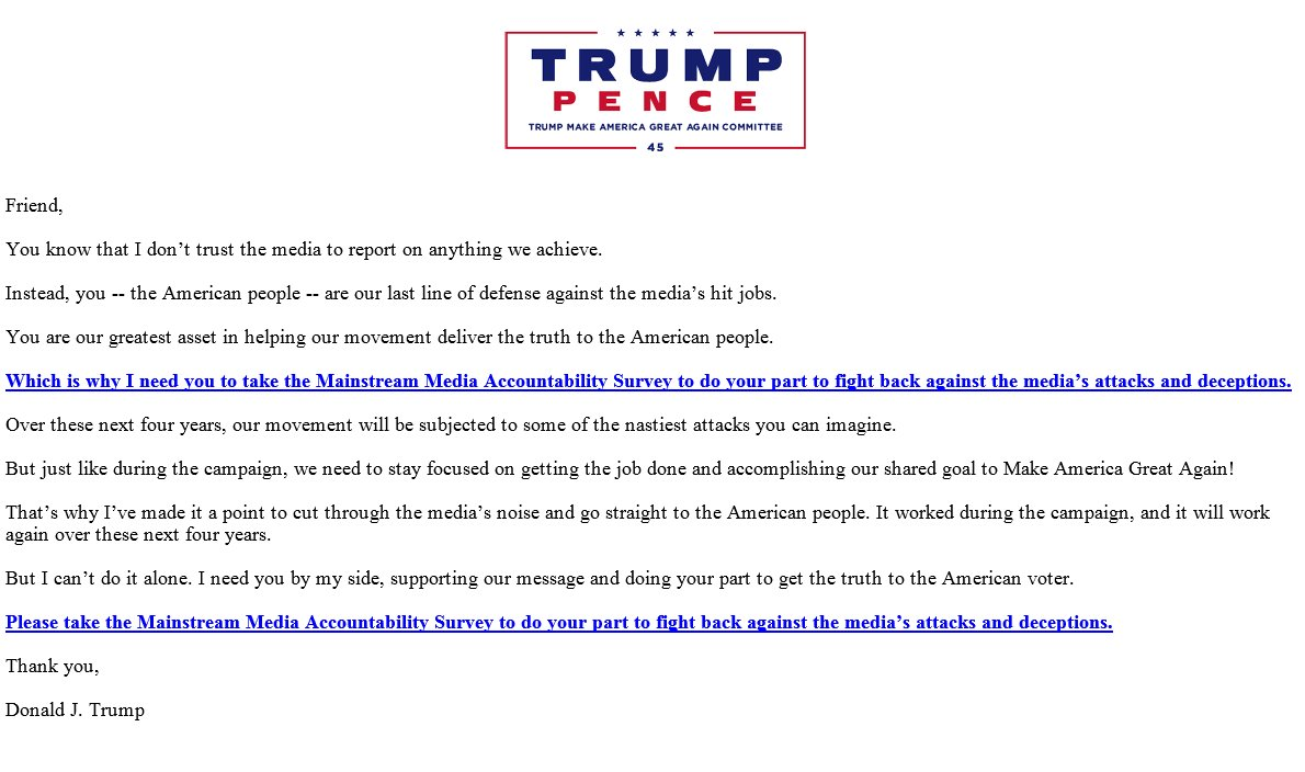 This email was just dispatched by President Trump. https://t.co/B7xbvgZ0Dl