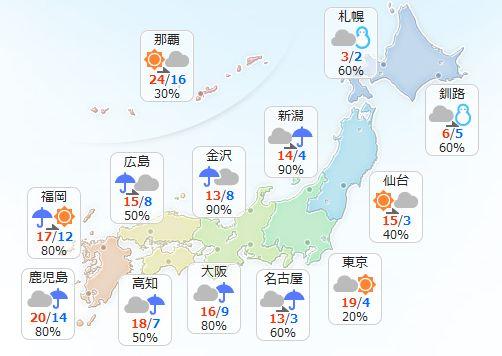 【2月17日(金)】九州から東海、北陸では雨が降る見込みです。東北の日本海側は雨から次第に雪に変わる…