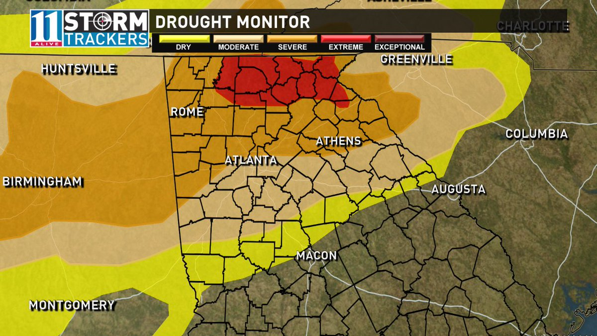 'Extreme' drought in north GA expanding again. Metro ATL split between severe and moderate drought. #11Alive