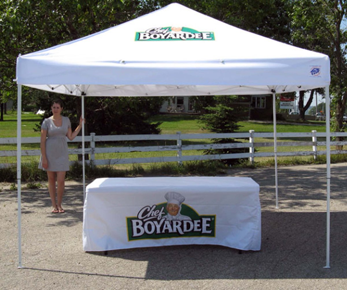 @ChefBoyardee Tent with table and table cover! Check out our website to see more!