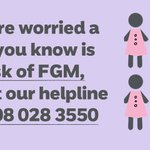 If you're worried a girl is at risk of, or has undergone #FGM, contact our helpline. For info & advice, visit: https://t.co/jCto9EV08H