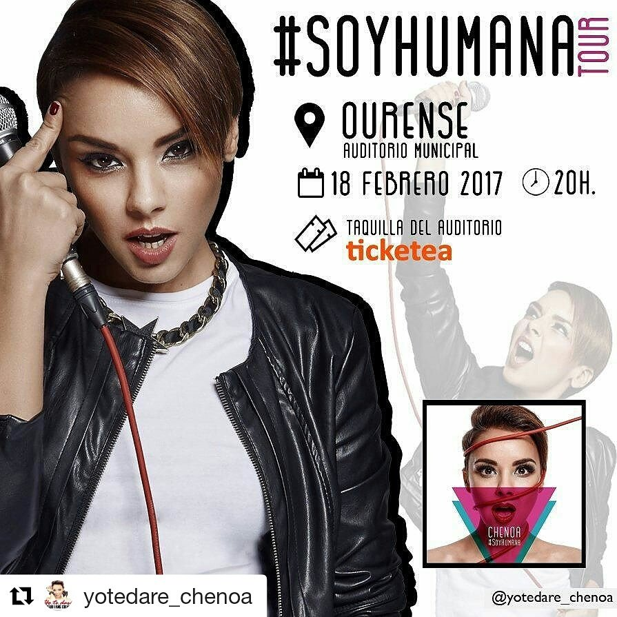 Retweeted Chenoa (@Chenoaoficial):  #soyhumana #tour #Ourense ♬♫♪ <br>http://pic.twitter.com/fX2A2Lm9F9  http:// fb.me/60DN8h721  &nbsp;