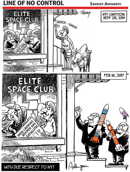 Dear @isro, our cartoonist's tribute to you and your stupendous achievements. Keep it up!
