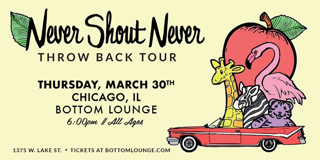 JUST ANNOUNCED: [3.30] Never Shout Never  – Throw Back Tour.  Tickets On Sale Friday at 2:00 PM! https://t.co/F92I3d18uJ