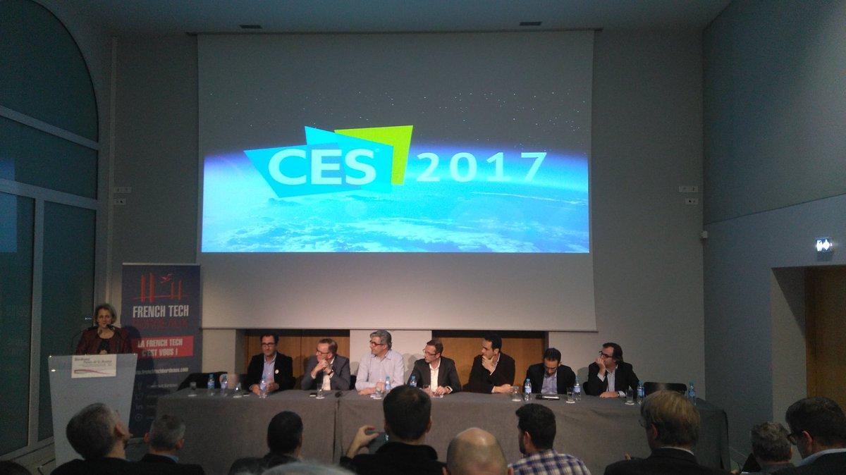 Retour d expérience de la délégation @FrenchTechBx au #CES2017 avec @SimforHealth et d&#39;autres entrepreneurs à @CCIBdxGironde<br>http://pic.twitter.com/PUrFgJG89q