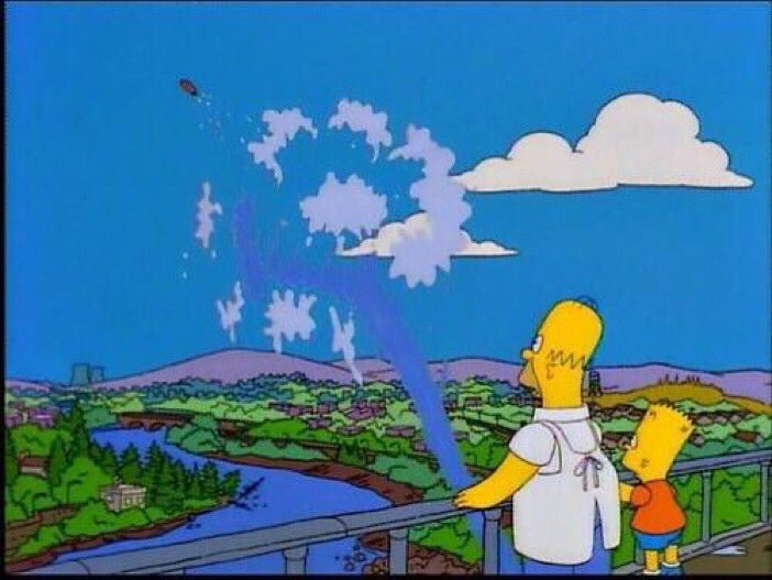 """The Simpsons on Twitter: """"""""It's just a little airborne! It's still good! It's  still good!"""" """"It's gone."""" """"I know.""""… """""""