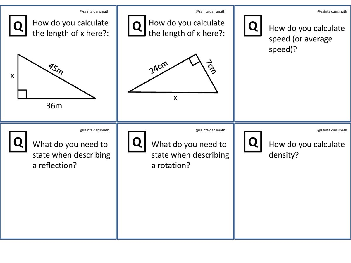 Saint Aidan S Maths On Twitter Gcse Revision Cue Cards 10 Print Back To And Quiz Yourself Your Clmates Or Pupils Mixed Extras