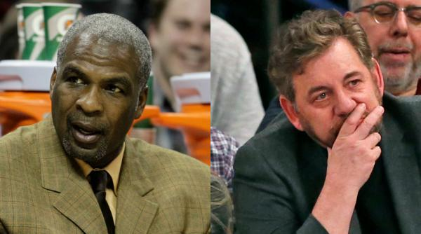 Charles Oakley has continued his assault on Knicks owner James Dolan going too far by accusing him of being similar to former Clippers owner Donald Sterling.  AP Photo via Getty Images