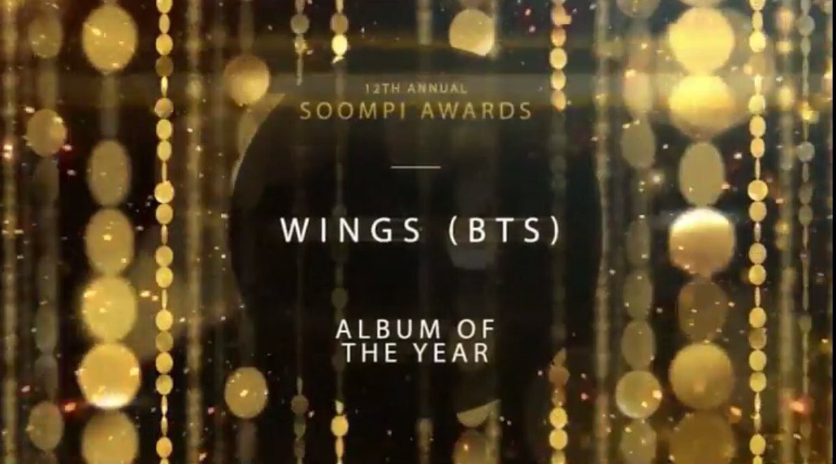 [خبر] 170301 | ألبوم بانقتان &lt;WINGS&gt; فاز بألبوم السنة و 피땀눈물 فازت بأغنية السنة &amp; #TeamBTS في المركز الثالث لأفضل فاندوم على #SOOMPIAWARDS  <br>http://pic.twitter.com/s9DlEDoazv