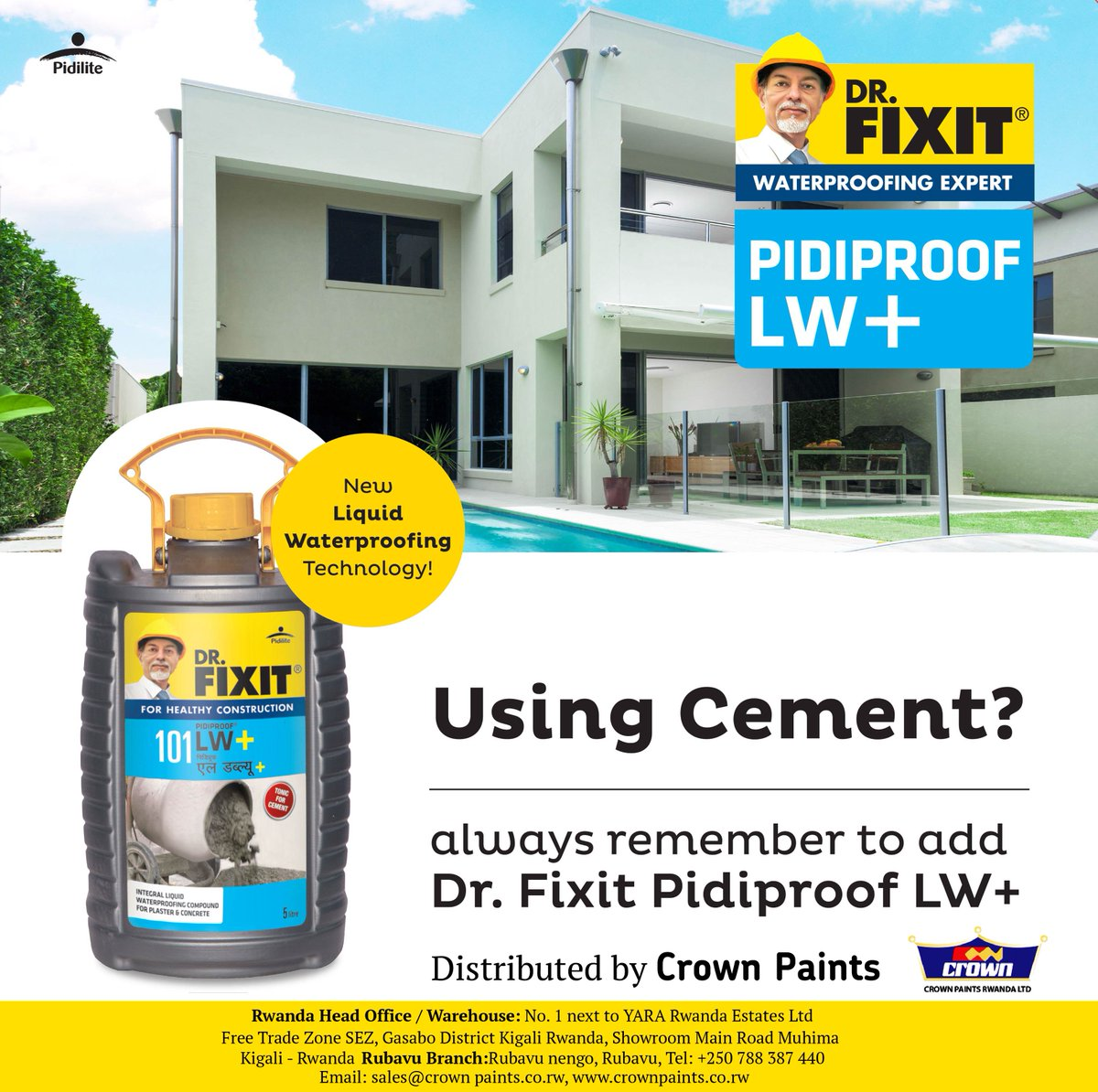 Crown Paint Rwanda On Twitter Buy Dr Fixit Pidiproof Lw An Integral Liquid Waterproofing Admixture For Concrete Cement At The Best Price In Rwanda My250 Meetdrfixit Https T Co Jfodmquxlc