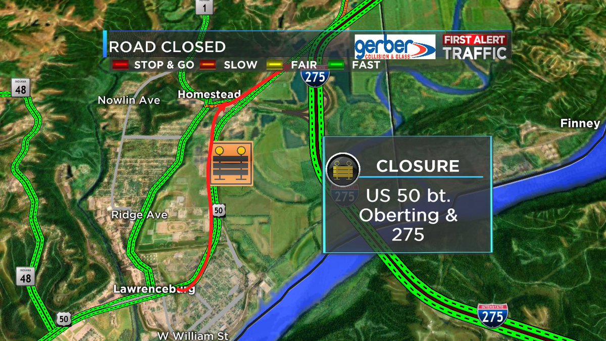 Us In Greendale In Is Closed Bt Oberting And Due To - Us 50 closure map