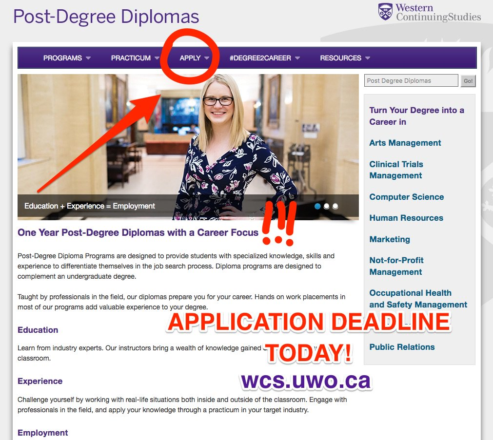 Last day to apply for @westernuCS Diplomas - take your next career step & join us this September! #degree2career #westernu #purpleandproud https://t.co/4YU0P8GpcB