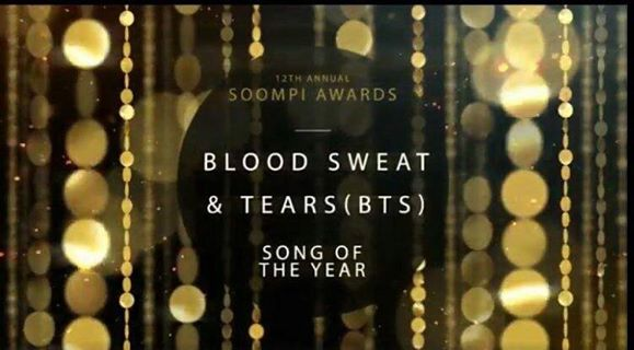 Album of the Year (WINGS)  Song of the Year (Blood, Sweat, Tears) Best Fandom- #TeamBTS (3rdPlace)  CONGRATS TO US  #SOOMPIAWARDS #BTS <br>http://pic.twitter.com/Im8aW1x8ZV