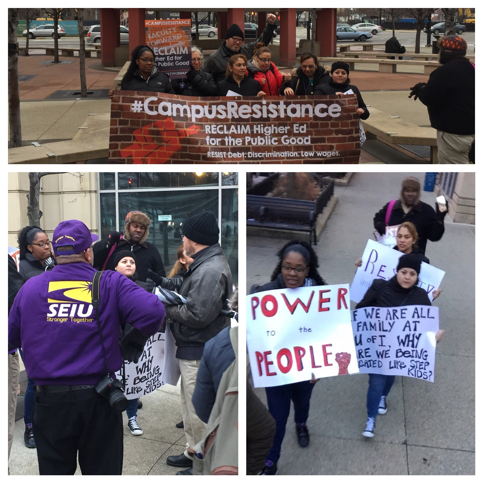 RT FacForwardChi: Kicking off #campusresistance in Chicago, SEIU L73 members at UIC demand fairness and respect! https://t.co/J7XkKFJnv4