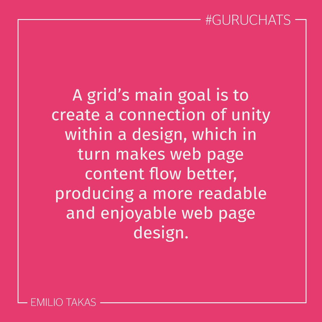 A1. The grid is an invisible structure that collects all the elements within a web page together. #guruchats https://t.co/Km3HTTqwXo