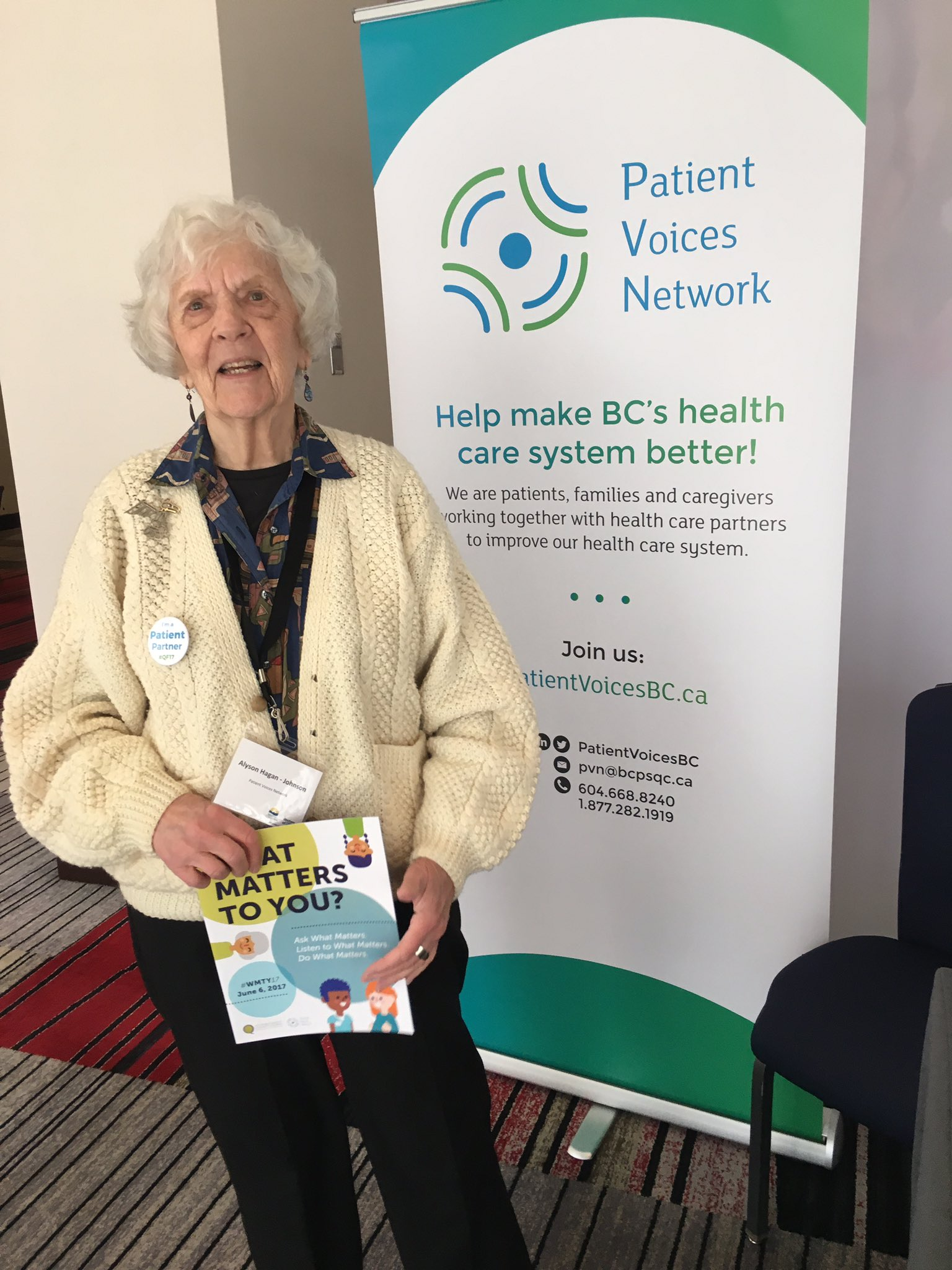 """So great to see the materials I helped with"" @PatientVoicesBC Member Alyson shows off #whatmatterstoyouday #QF17 https://t.co/pCOgOskXWd"