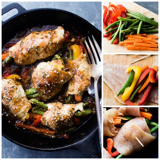 Honey Garlic Chicken and Vegetables Rollups